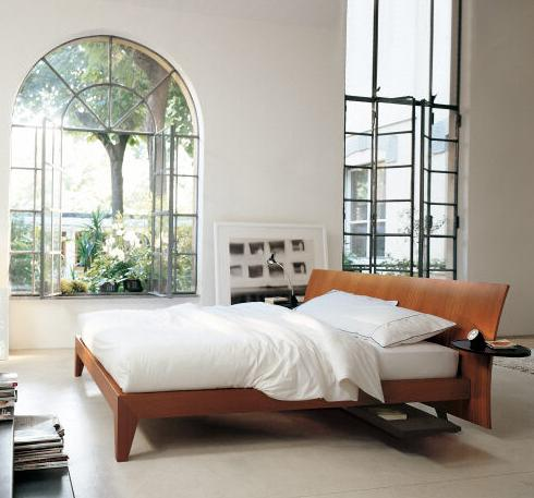 Juno Solid Wood Modern Bed In Cherry Or Beech