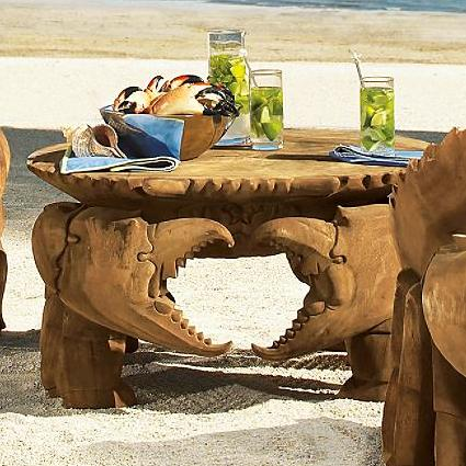 Hand Carved Teak Crab Table and Chairs