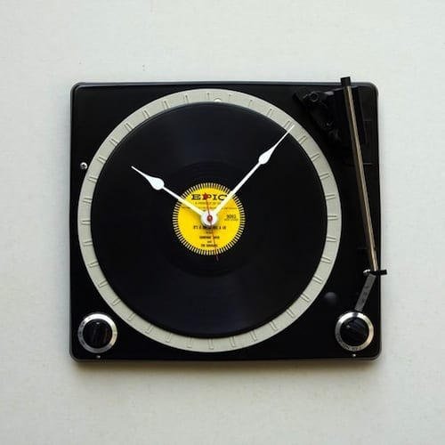 Recycled Console Turntable Clock