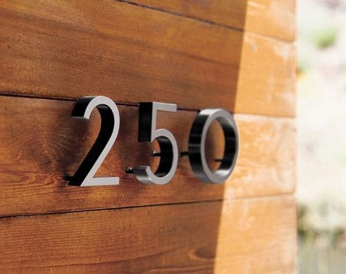 house numbers, home numbers, metal house numbers, metal home numbers, aluminum house numbers, aluminum home numbers, bead-blasted aluminum numbers, neutra, richard neutra, dion nutra, neutra house numbers, neutra numbers, dwr house numbers, design within reach, dwr