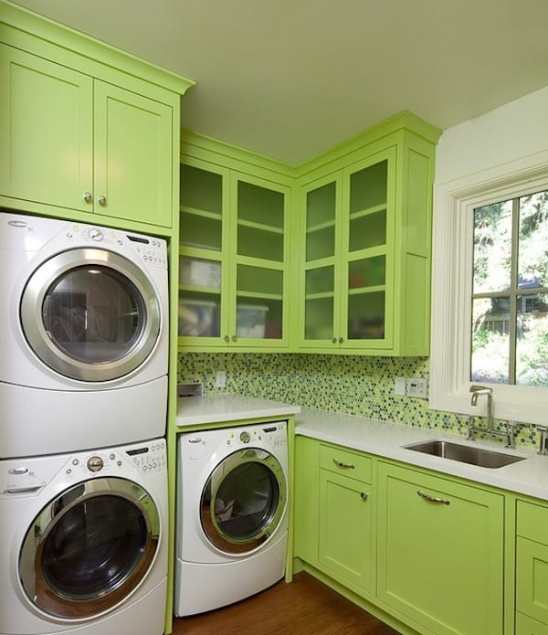 bright colored laundry room