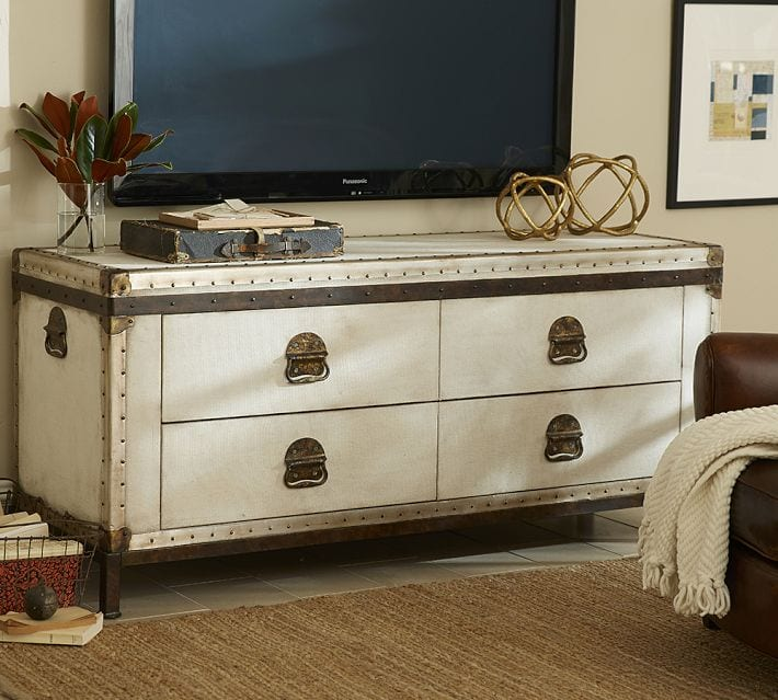 Exotic Explorer Ludlow Trunk Media Console By Pottery Barn