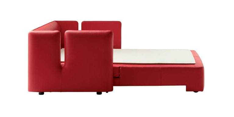 Red leather bed by Poltrona Frau