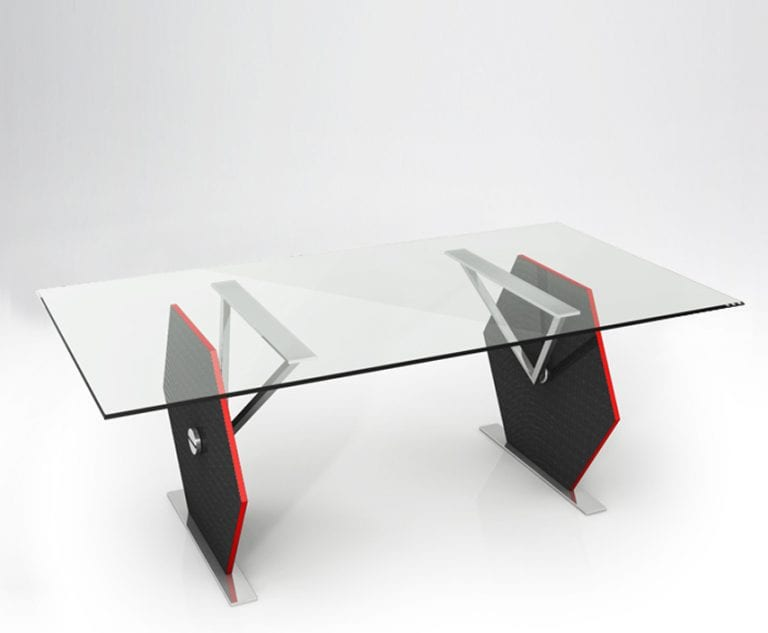 rectangular carbon fibre and glass table