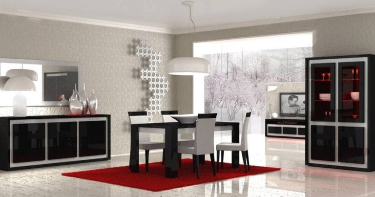 black glossy dining room furniture