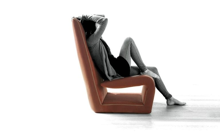 contemporary leather armchair by Erba