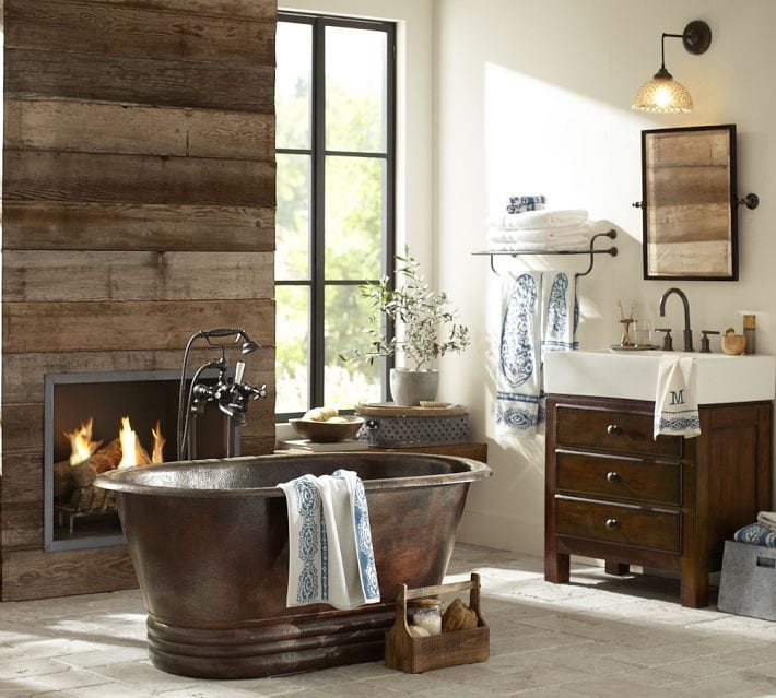 Hand Hammered Copper Bathtub by Pottery Barn