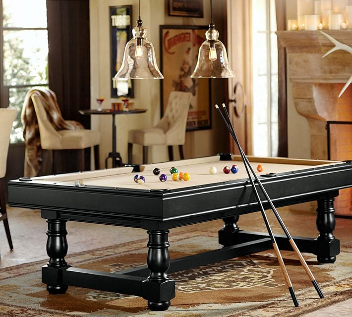Turned-Leg Pool Table by Pottery Barn