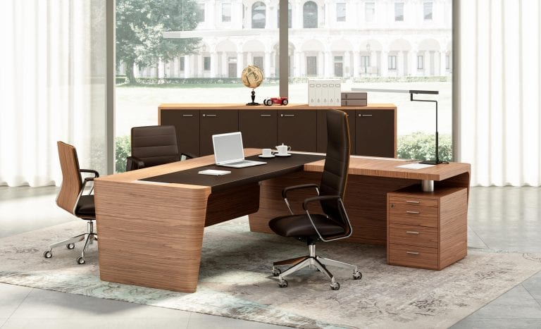 leather and wood executive desk