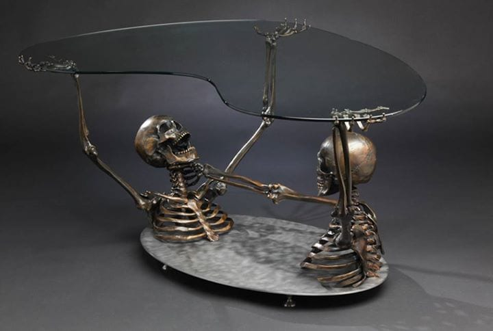 skeleton bronze coffee table