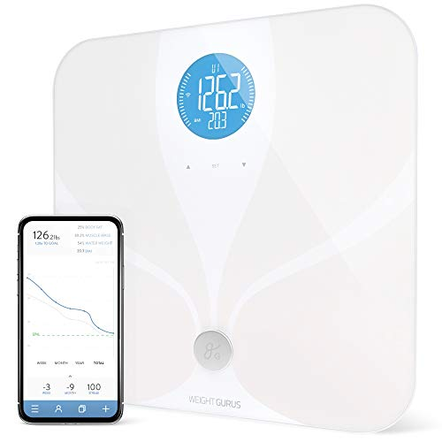 WiFi Smart Connected Body Fat Bathroom Scale by GreaterGoods, 2020 Update Free Service Help Desk Included, Backlit LCD, ITO Conductive Surface Tech, Accurate Precision Health Metrics